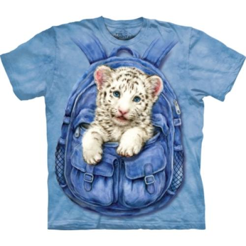 Tričko unisex The Mountain Backpack White Tiger - modré