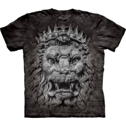 Tričko unisex The Mountain Big Face King Lion - černé