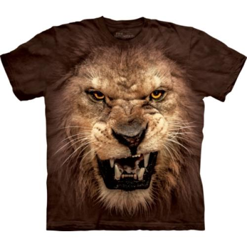 Tričko unisex The Mountain Big Face Roaring Lion - hnědé