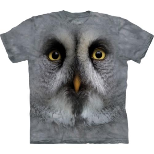 Tričko unisex The Mountain Great Grey Owl Face - šedé