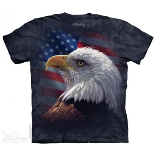 Tričko unisex The Mountain American Pride Eagle - modré