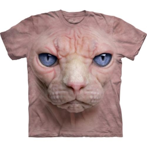 Tričko unisex The Mountain Hairless Pussycat Face - růžové
