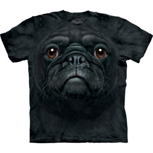 Tričko unisex The Mountain Black Pug Face - čierne