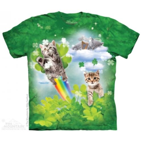 Tričko unisex The Mountain Green Irish Fairy Kittens - zelené