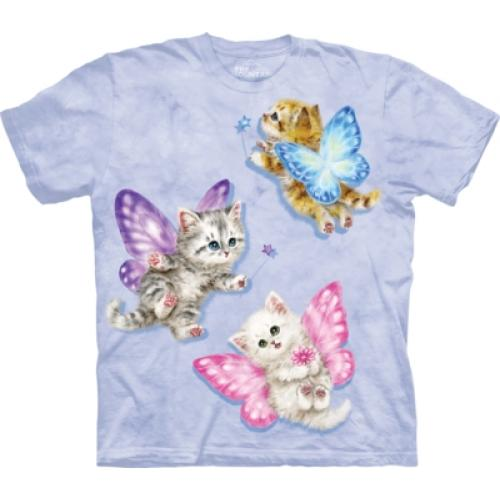 Tričko unisex The Mountain Butterfly Kitten Fairies - modré