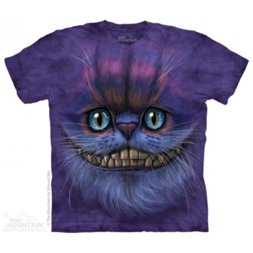 Tričko unisex The Mountain Big Face Cheshire Cat - fialové