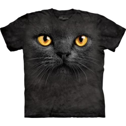 Tričko unisex The Mountain Big Face Black Cat - černé