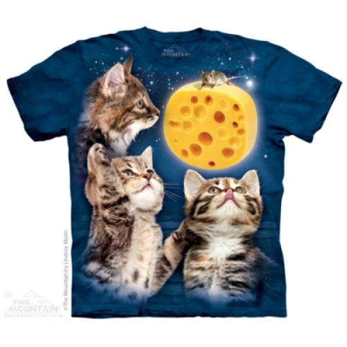 Tričko unisex The Mountain Three Kitten Cheese Moon - modré