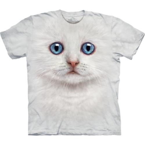 Tričko unisex The Mountain Ivory Kitten Face - bílé
