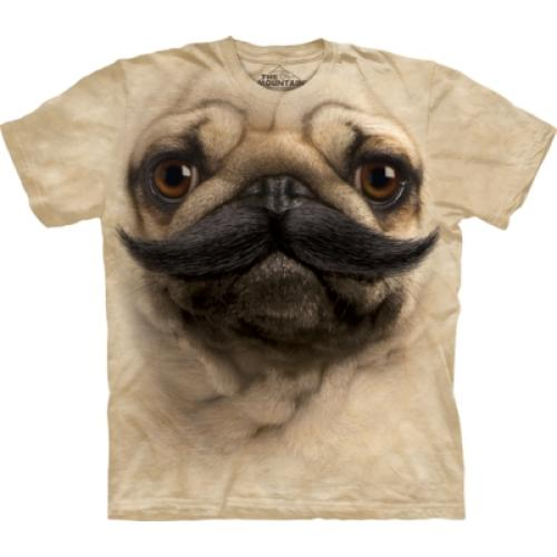 Tričko unisex The Mountain Big Face Pugstache - béžové