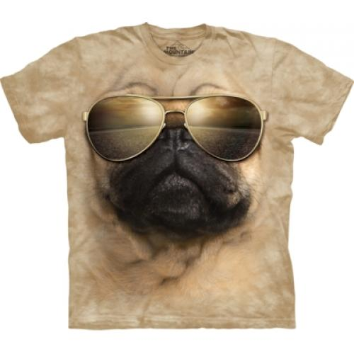 Tričko unisex The Mountain Aviator Pug - béžové