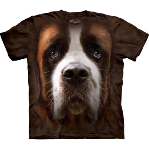 Tričko unisex The Mountain Saint Bernard Face - hnedé