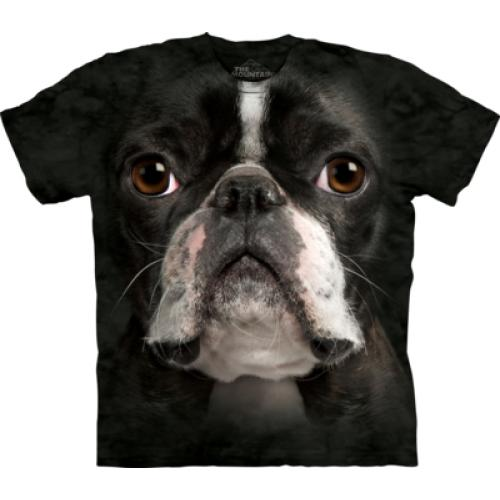 Tričko unisex The Mountain Boston Terrier Face - černé