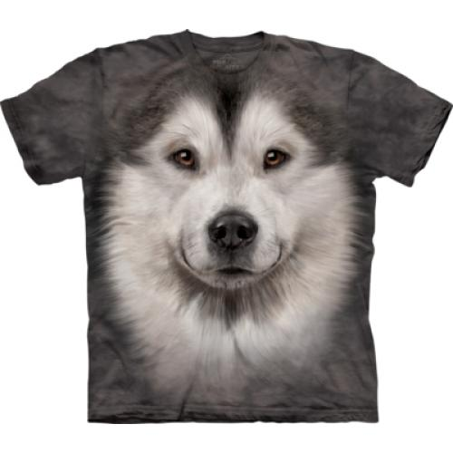 Tričko unisex The Mountain Alaskan Malamute Face - šedé