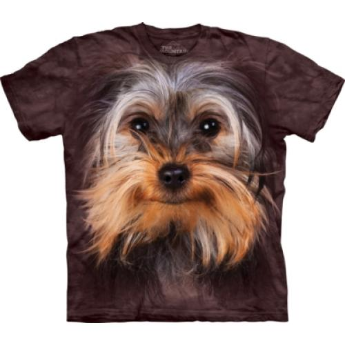 Tričko unisex The Mountain Yorkshire Terrier Face - hnědé