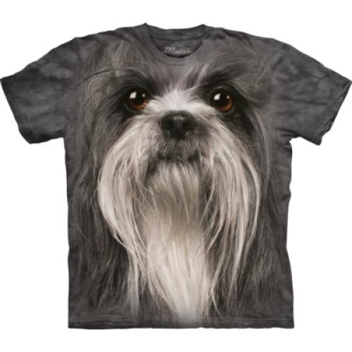 Tričko unisex The Mountain Shih Tzu Face - šedé
