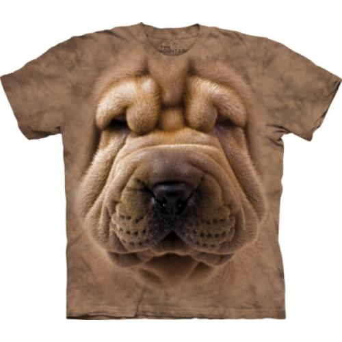 Tričko unisex The Mountain Big Face Shar Pei - béžové