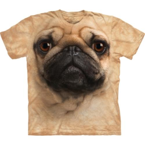 Tričko unisex The Mountain Pug Face - béžové