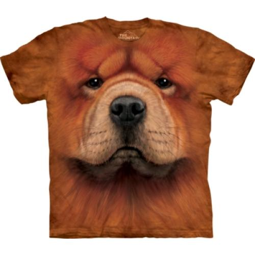 Tričko unisex The Mountain Chow Chow Face - hnědé
