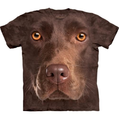 Tričko unisex The Mountain Chocolate Lab Face - hnědé