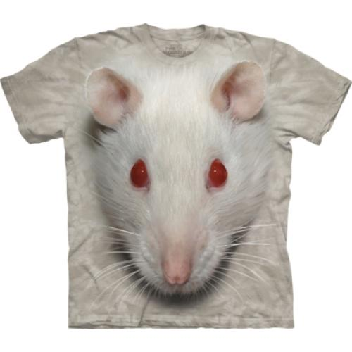 Tričko unisex The Mountain Big Face White Rat - šedé