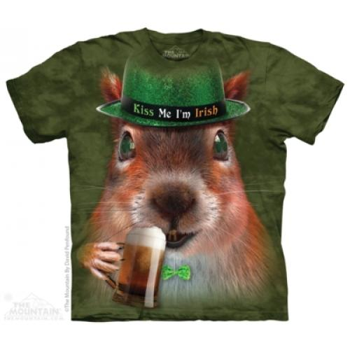 Tričko unisex The Mountain Big Face Irish Squirrel - zelené