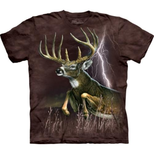 Tričko unisex The Mountain Deer Lightening - hnědé