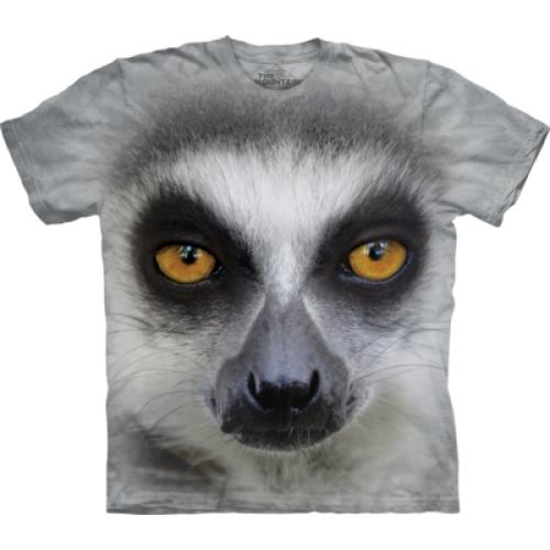 Tričko unisex The Mountain Big Face Ring Tailed Lemur - šedé