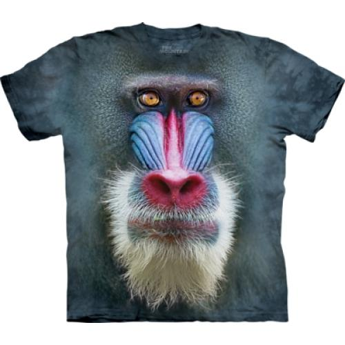 Tričko unisex The Mountain Big Face Mandrill Baboon - modré
