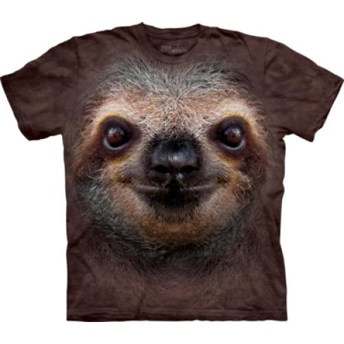 Tričko unisex The Mountain Sloth Face - hnedé