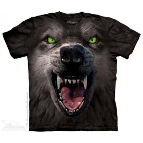 Tričko unisex The Mountain Big Face Attack Wolf - černé