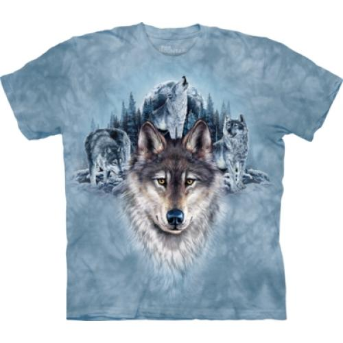 Tričko unisex The Mountain Blue Moon Wolves - modré