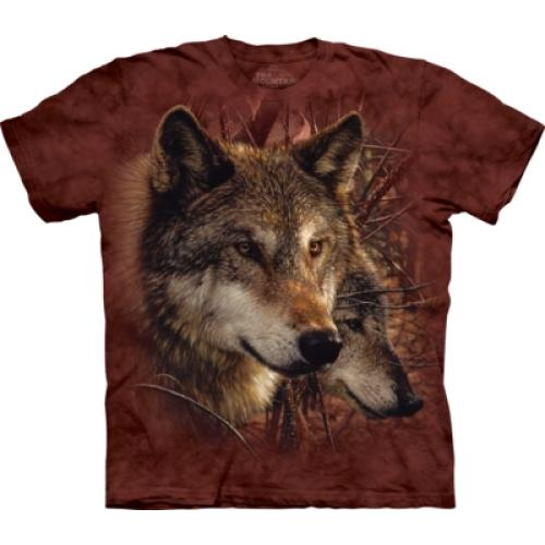 Tričko unisex The Mountain Forest Wolves - hnědé