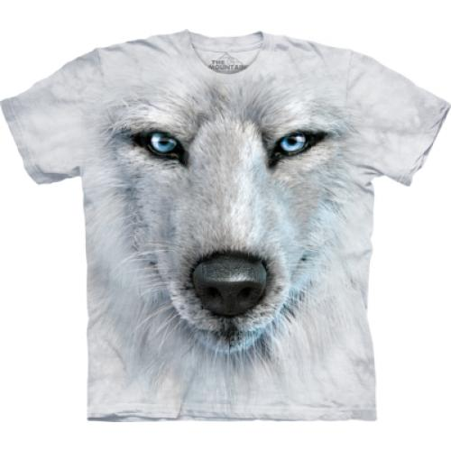 Tričko unisex The Mountain White Wolf Face - šedé