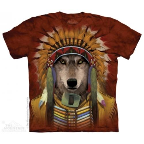 Tričko unisex The Mountain Wolf Spirit Chief - hnedé