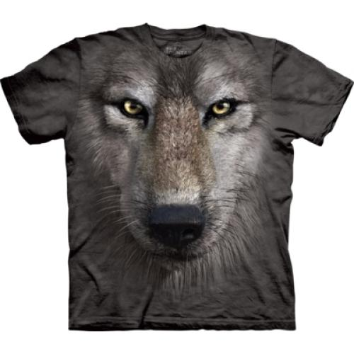 Tričko unisex The Mountain Wolf Face - šedé