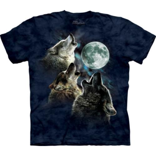 Tričko unisex The Mountain Three Wolf Moon in Blue - modré