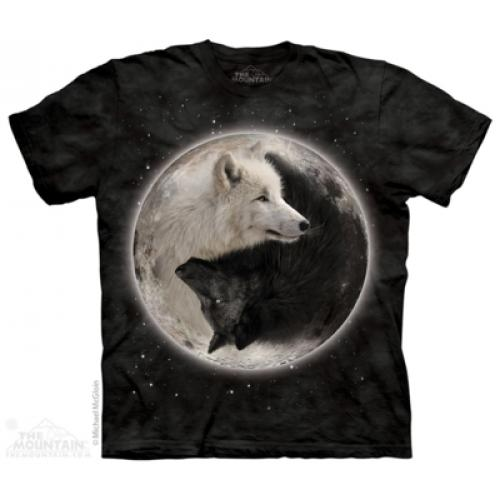 Tričko unisex The Mountain Yin Yang Wolves - čierne