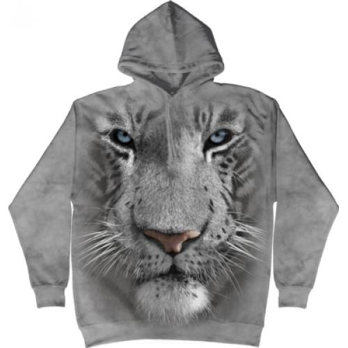 Mikina The Mountain Hoodie White Tiger Face - šedá