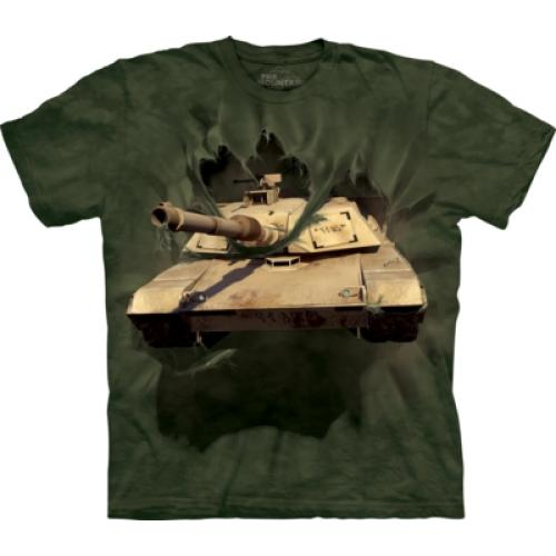 Tričko unisex The Mountain M1 Abrams Tank Breakthrough - olivové