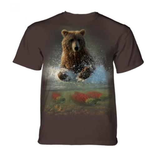 Tričko unisex The Mountain Lucky Fishing Hole Bear - hnedé