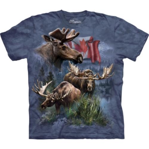 Tričko unisex The Mountain Canadian Moose Collage Patriot - modré