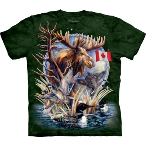 Tričko unisex The Mountain Canada Loon Collage Patriotic - zelené