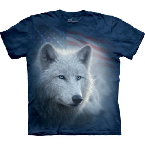 Tričko unisex The Mountain Patriotic White Wolf - modré