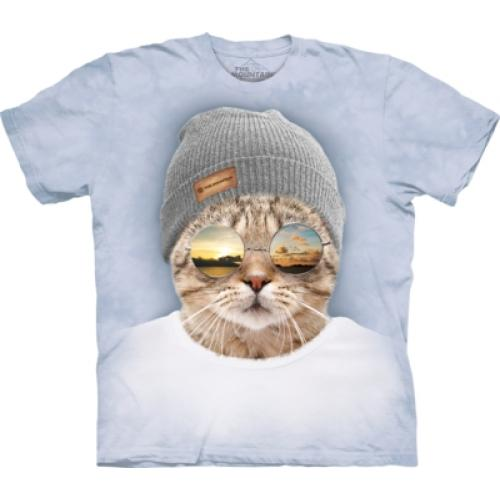 Tričko unisex The Mountain Cool Hipster Cat Manimals - bílé