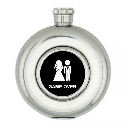 Kulatá placatka 150 ml Game Over - stříbrná